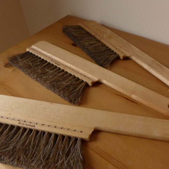 Three soft wooden duster brushes